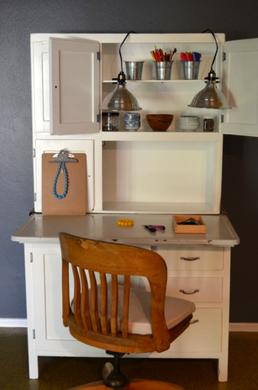 white hoosier cabinet workspace