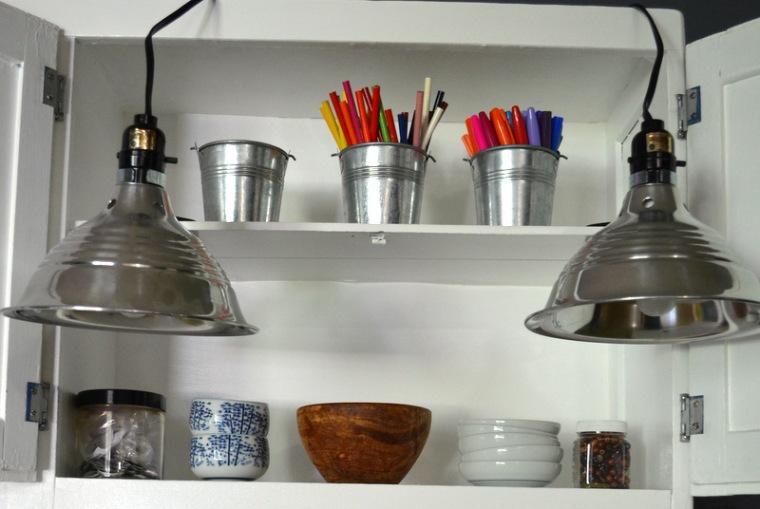hoosier cabinet lights detail