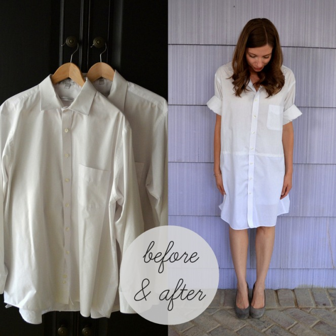 dress from two men's shirts