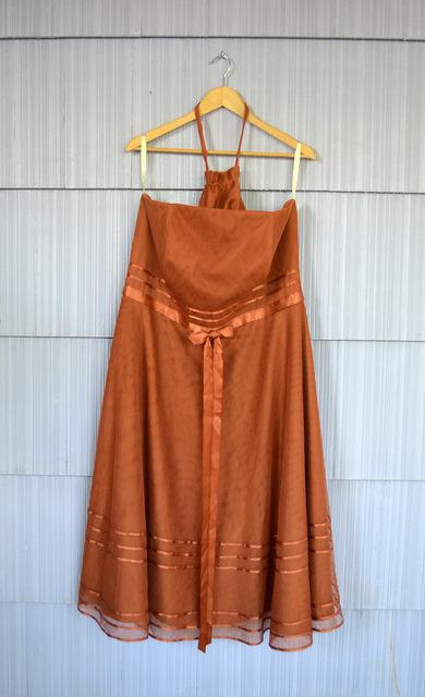 orange rust prom dress