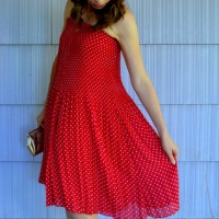 31 Days: Color - Day 7: Red Skirt Dress