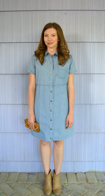 hemmed blue shirt dress