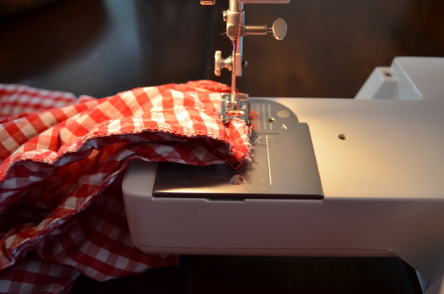 sewing machine and gingham