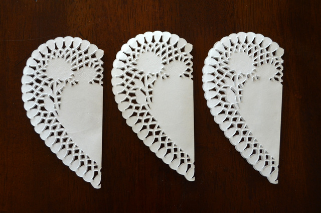 folded heart doilies