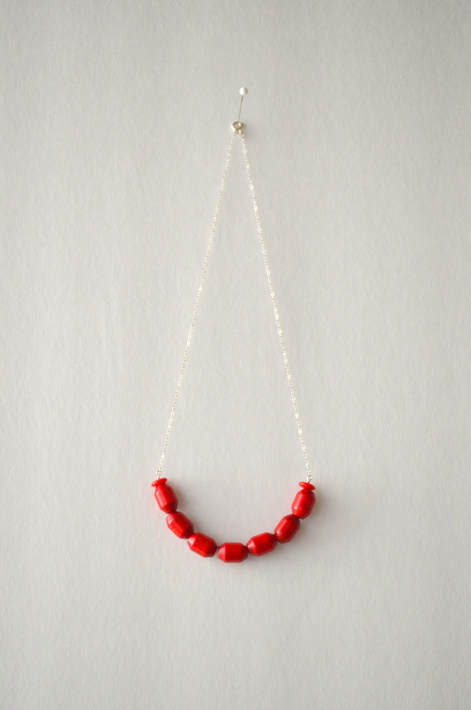 red necklace silver chain