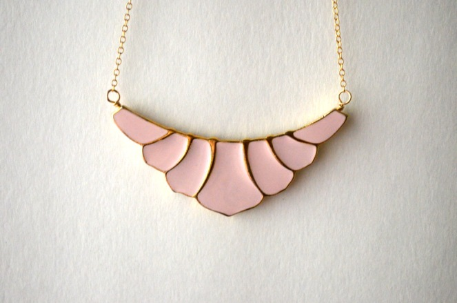 pink + gold reversible pendant necklace