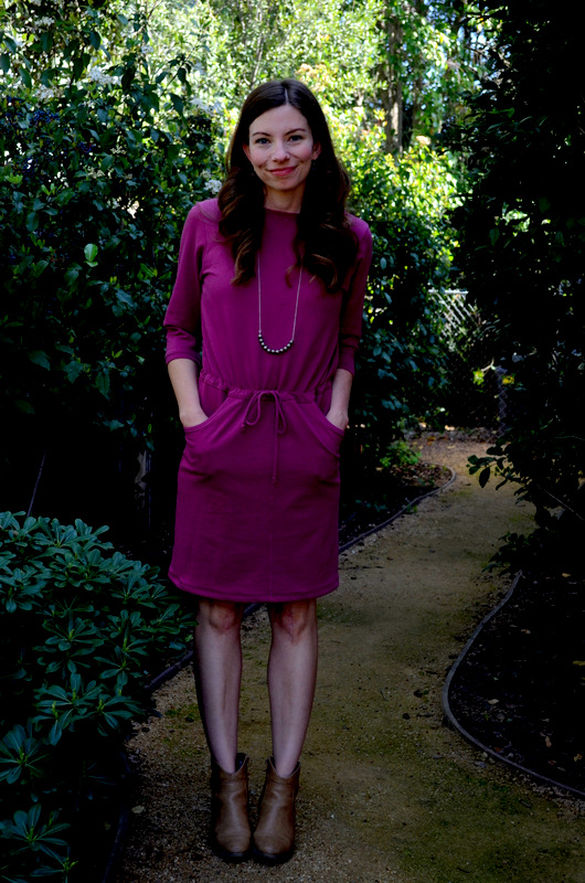 plum dress + handmade necklace