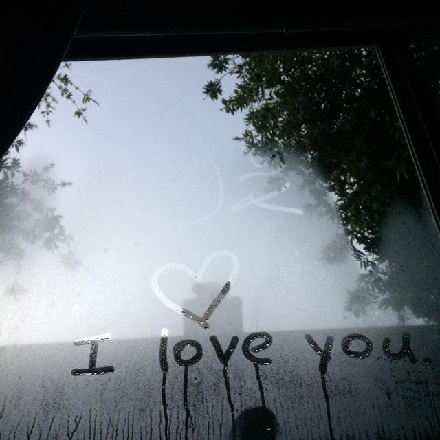 i love you frosty window