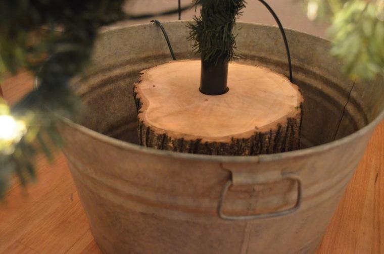 fake christmas tree real wood base