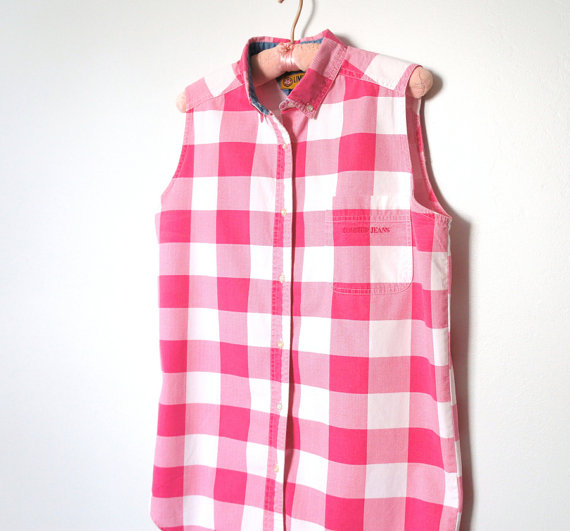 red white sleeveless gingham