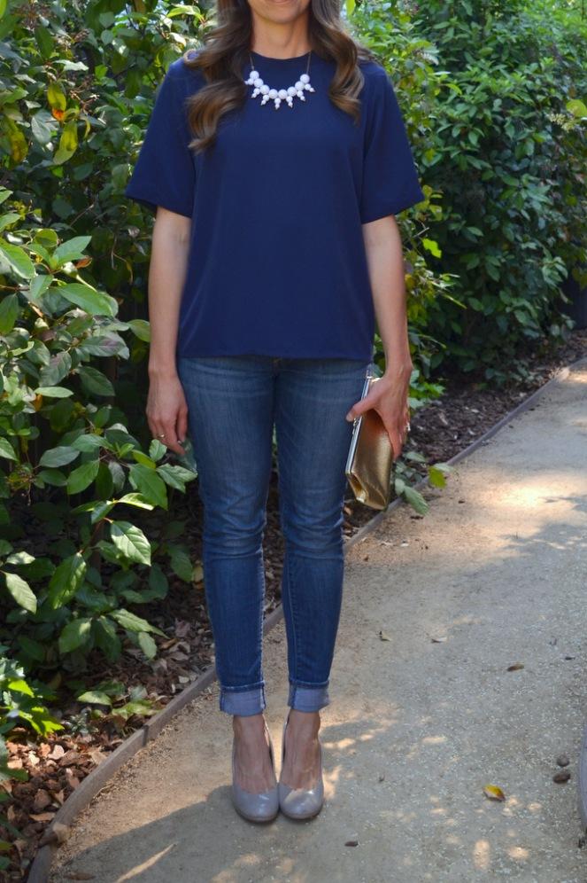 vintage blouse + jeans + heels