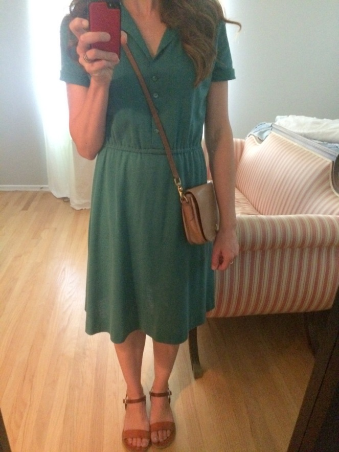 vintage green shirtdress