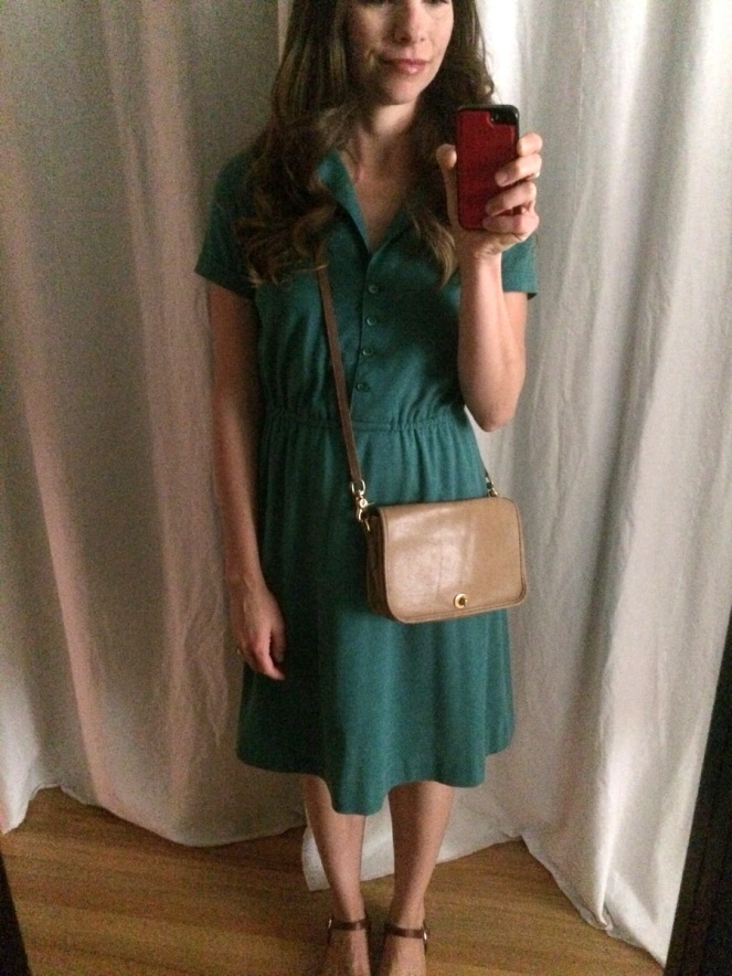 green vintage shirt dress