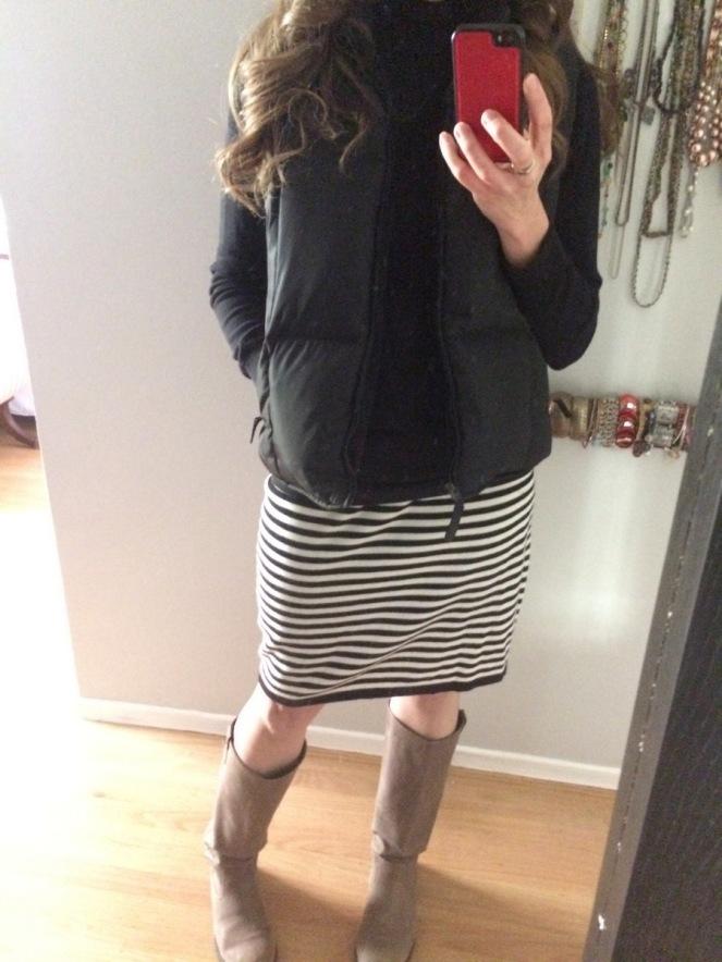vintage knit skirt puffer vest