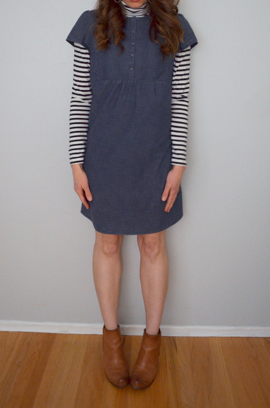 denim dress + striped turtleneck + ankle boots