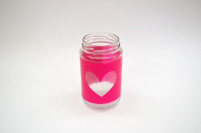 heart cutout tissue paper jar candle holder