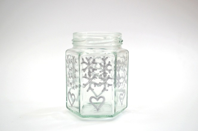 snowflake jar candle holder