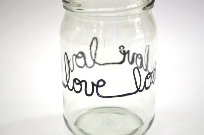 hand lettered jar candle holder
