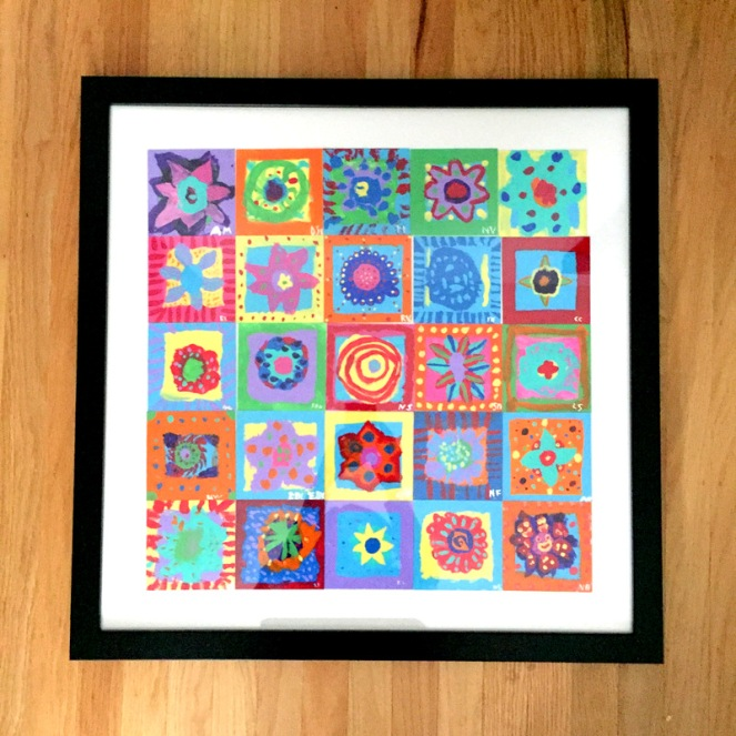 abstract flower garden framed