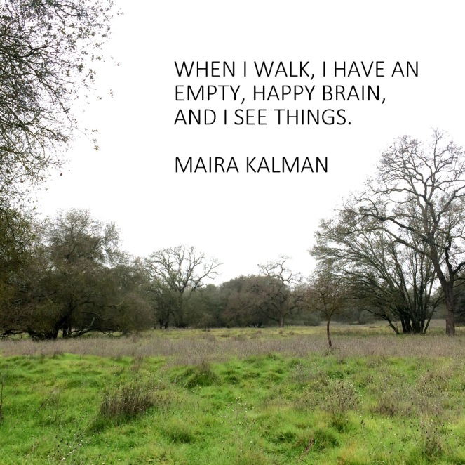 When I walk, I have an empty, happy brain, and I see things. Maira Kalman